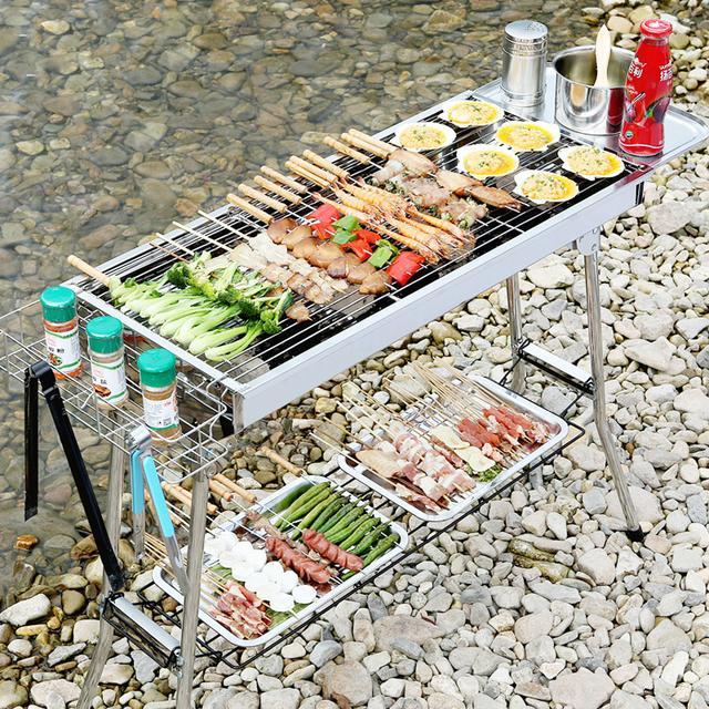 不锈钢烧烤架 便携式折叠木炭烧烤炉 户外烧烤优惠券