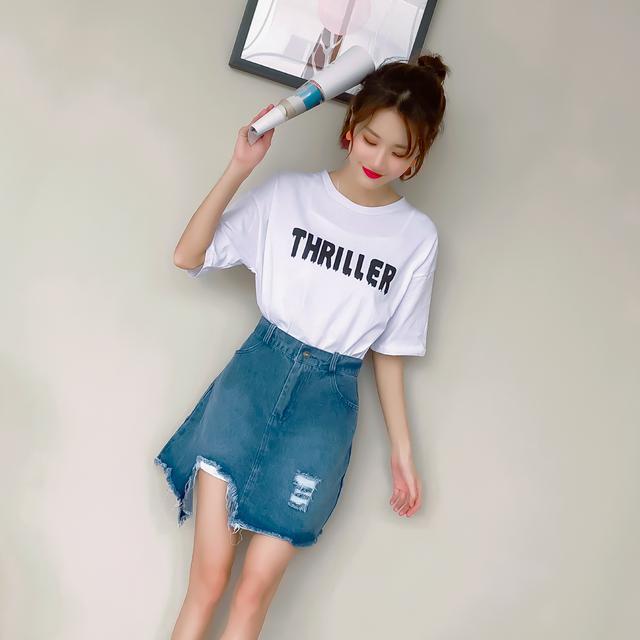 韩版短袖t恤时髦套装女装牛仔半身裙短裙两件套优惠券