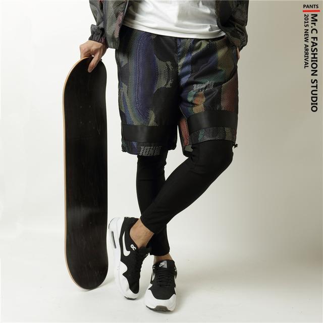 原宿风嘻哈秋季假两件打底裤套装 迷彩速干个性运动裤潮男休闲裤优惠券