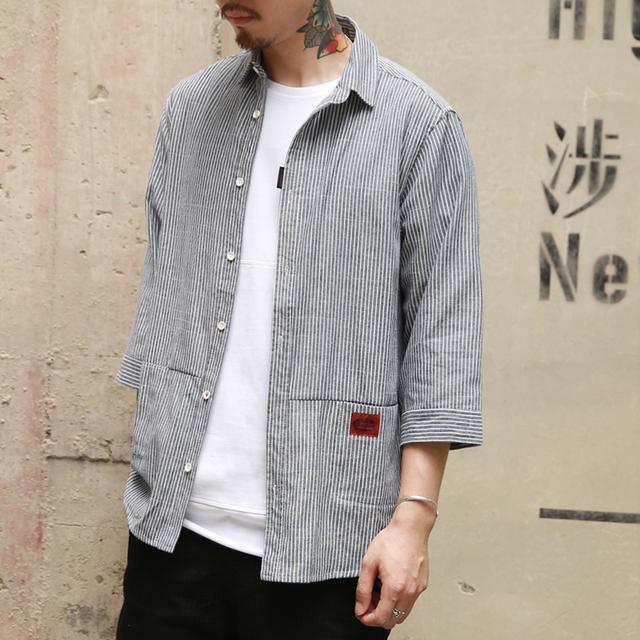 日系男装夏装美式街头风撞色韩版宽松休闲棉麻七分袖条纹衬衫男优惠券