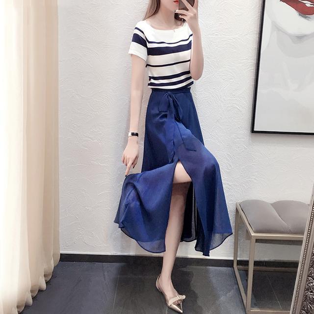 雪纺连衣裙新款女装小清新套装裙子气质长裙I49优惠券