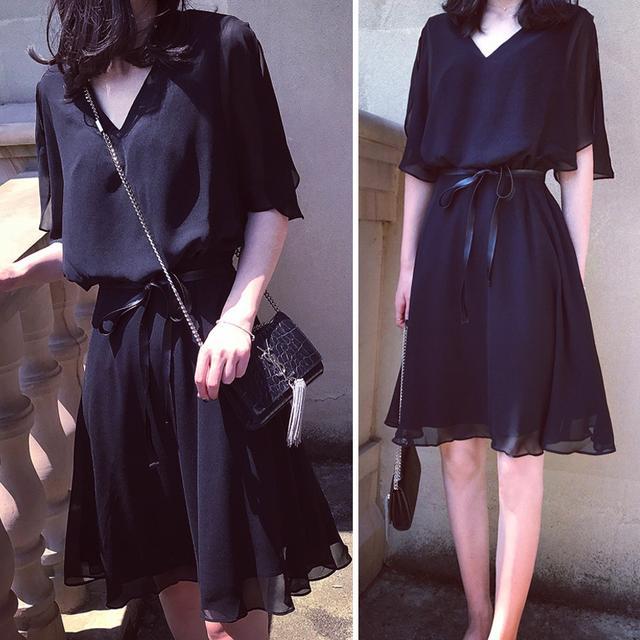 2018新款女夏大码韩版小黑裙打底裙中长款短袖优惠券