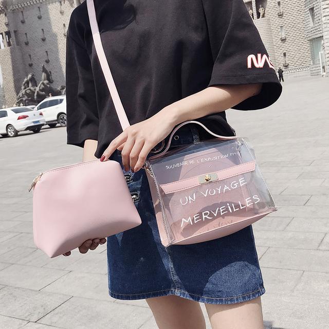 透明小包包女2018新款韩版个性字母手提包chic百搭果冻单肩斜跨包优惠券