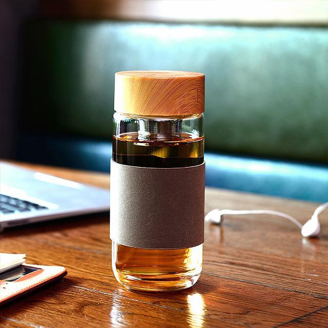 懒人木纹高档带茶隔玻璃杯 CXWJ005优惠券