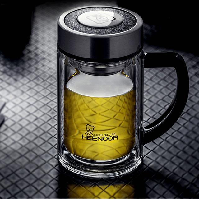 【希诺】双层玻璃杯隔热水晶杯带手柄办公室泡茶杯优惠券
