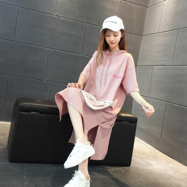超火卫衣中长款女2018新款韩版夏季宽松短袖学生薄款连帽T恤裙子优惠券