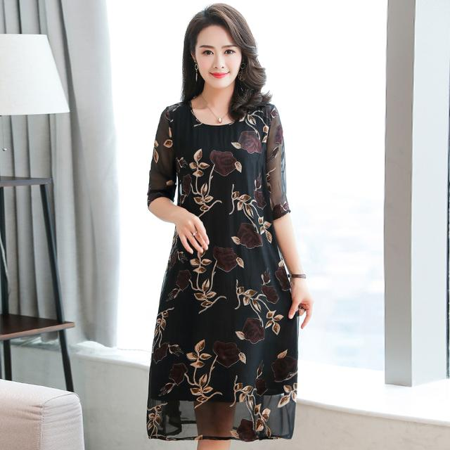 真丝连衣裙新款2018夏季中年女装妈妈气质优雅印花重磅桑蚕丝裙优惠券