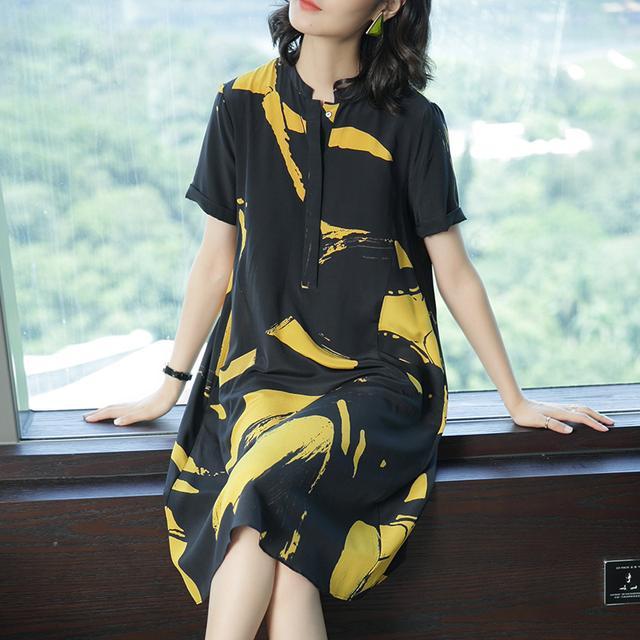 杭州印花连衣裙夏中长款大码宽松长裙1743优惠券