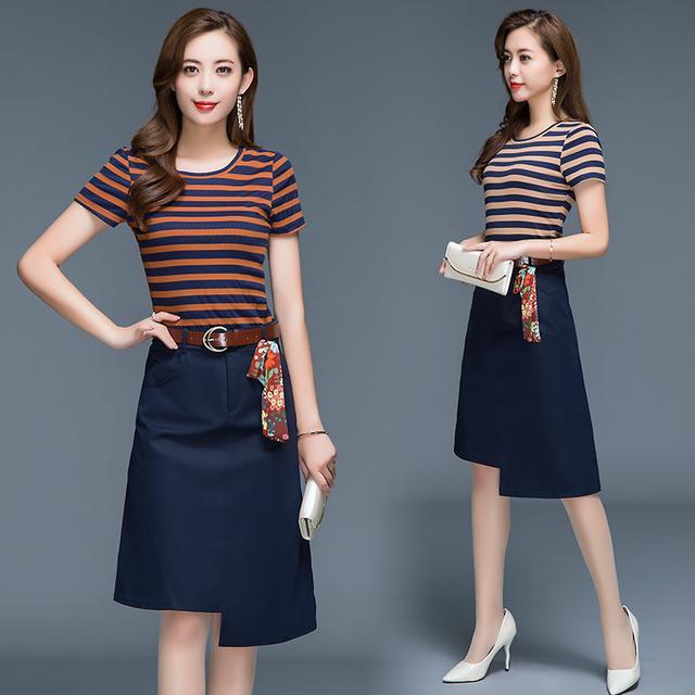 2018夏季新款韩版修身显瘦收腰t恤条纹两件套连衣裙优惠券
