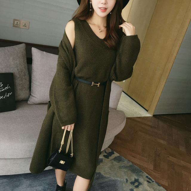 2016秋装新款纯色显瘦背心针织裙套装+中长款毛衣开衫外套两件套优惠券