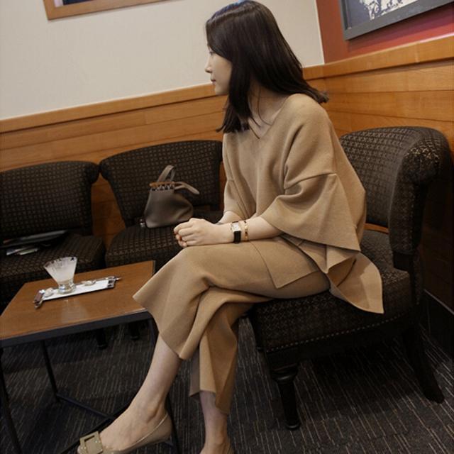 套装女2016秋季新款 v领毛衣宽松蝙蝠衫套头针织衫两件套阔腿裤潮优惠券