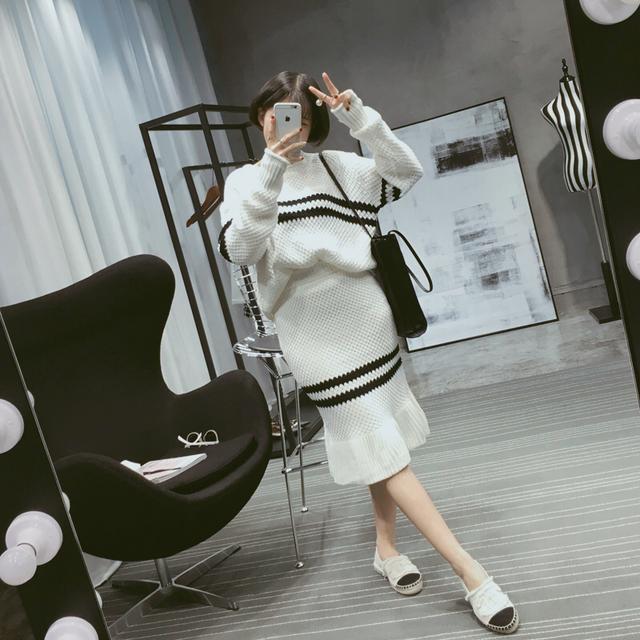 【EC】2016秋装新品 拼色长袖针织毛衣+包臀鱼尾裙两件套装 女H22优惠券