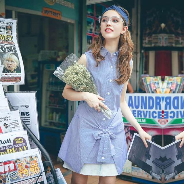 假两件修身无袖条纹衬衫裙蓝色(S)优惠券