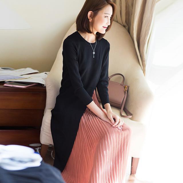 ^@^PANGJIU秋色未央浪漫优雅黑色针织连衣裙肉桂粉雪纺百褶两件套优惠券