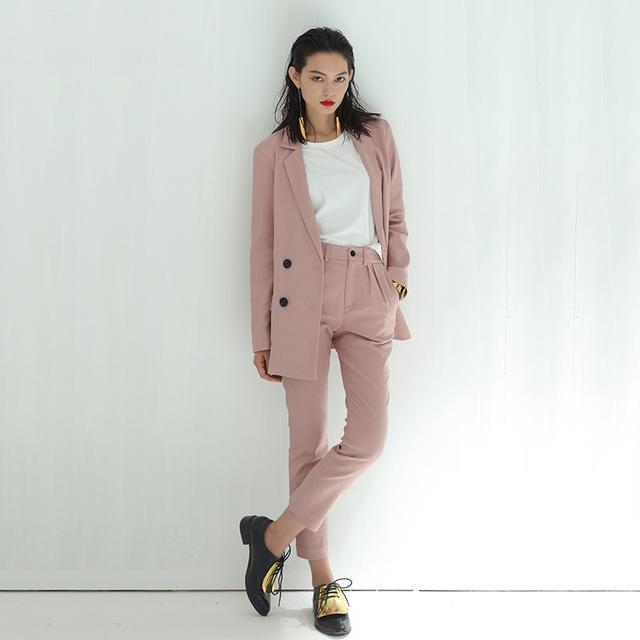 RLL2016秋季新款藕粉色女装套装长袖薄款休闲西装小外套两件套优惠券