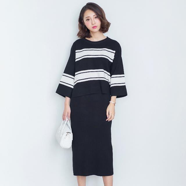 秋季女装韩版时尚气质小香风条纹长袖针织毛衣包臀裙两件套套装潮优惠券