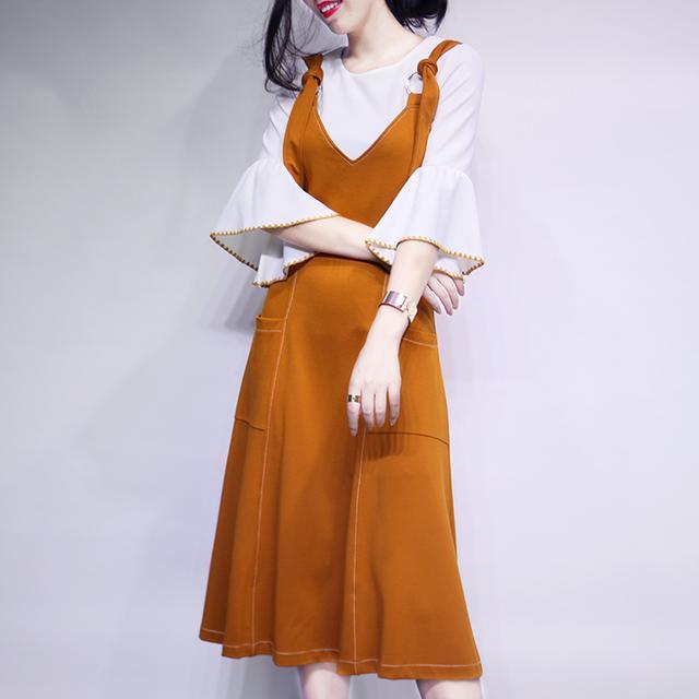 套装裙 秋季2016新款背带裙高腰修身喇叭袖两件套a字大摆连衣裙女优惠券