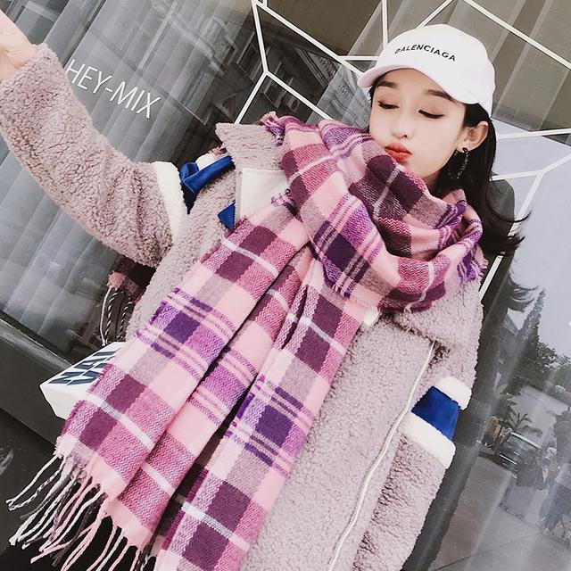 格子围巾女秋冬季保暖英伦风个性流苏百搭韩版新款围脖两用大披肩优惠券