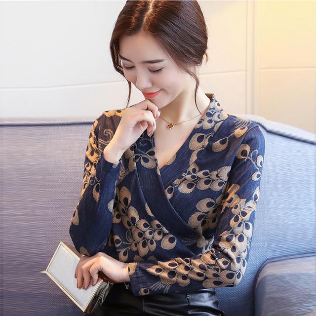 新款女装V领上衣长袖收腰印花洋气小衫T恤打底衫优惠券