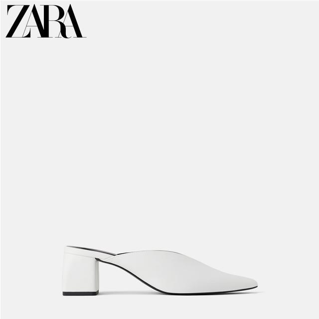 ZARA 新款 TRF 女鞋 2019春款开口设计高跟穆勒鞋 13224001001优惠券
