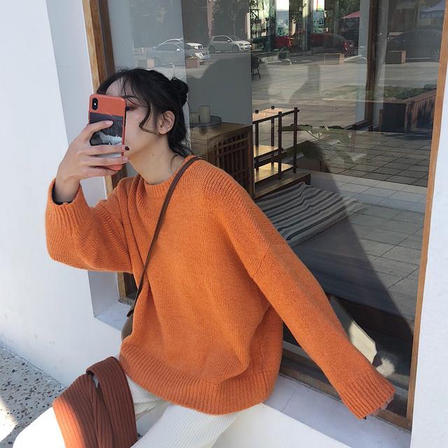 橘黄色圆领毛衣女韩国东大门款单色软糯宽松慵懒风套头针织衫显白优惠券