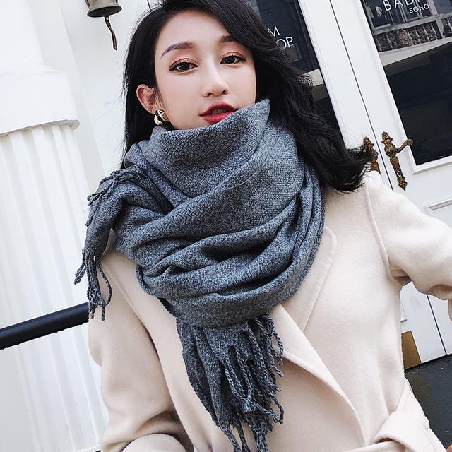 围巾女冬季保暖韩版百搭简约纯色流苏日系学生新款时尚围脖大披肩优惠券