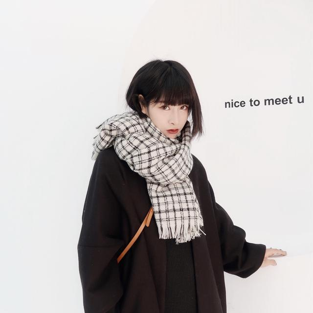 仿羊绒围巾秋冬女韩版新款百搭情侣两用围脖日系格子少女长款披肩优惠券