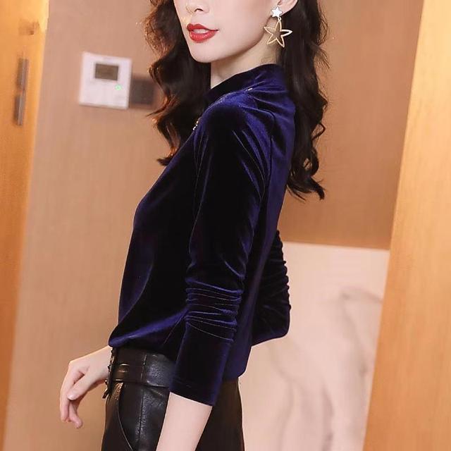 金丝绒上衣女长袖2019秋冬新款时尚洋气内搭半高领钉珠修身打底优惠券