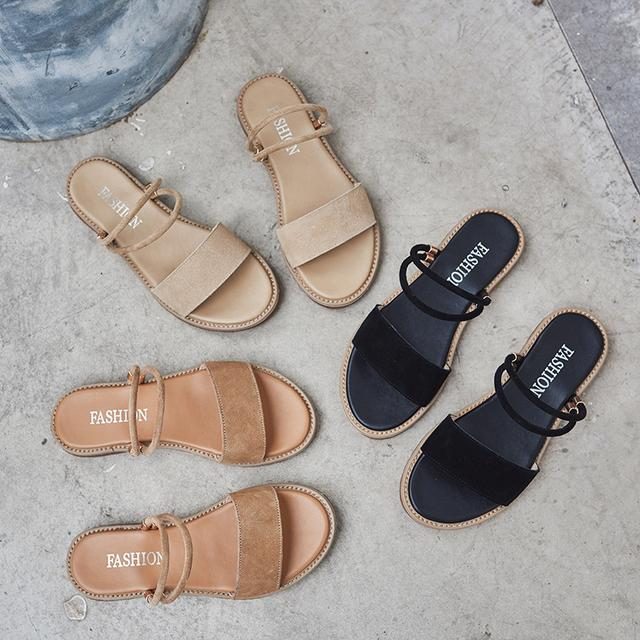 凉鞋女2019夏季新款平底百搭仙女风学生一字带韩版真皮两穿凉鞋潮优惠券