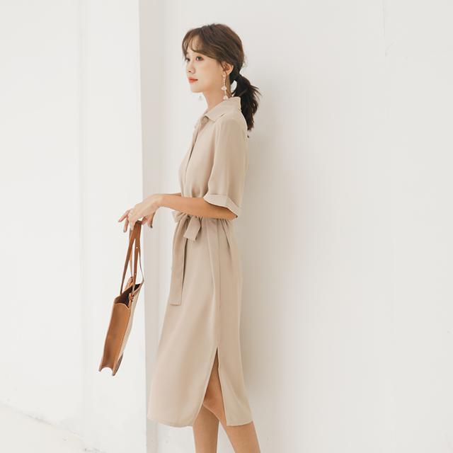 衬衫裙怎么穿才好看?来看看杨幂的穿搭技巧:少系扣子多露腿
