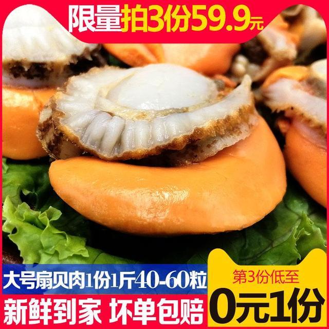 星渔特大号去壳扇贝肉新鲜冷冻鲜活现剥海鲜速冻扇贝肉非即食1斤优惠券