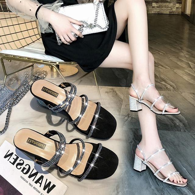 性感高跟凉拖鞋女夏外穿2019新款时尚百搭水钻粗跟两穿凉鞋半拖鞋优惠券
