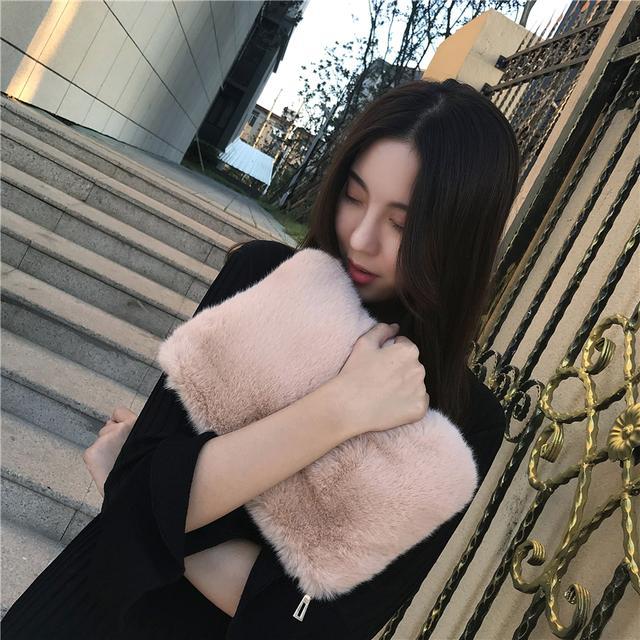 仿皮草手拿包女链条单肩包2018新款秋冬季时尚毛绒手拎包毛毛包包优惠券