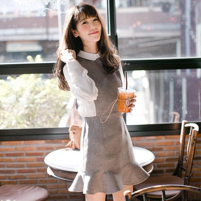秋装女装2016新款韩版高腰长袖格子连衣裙 中长款修身淑女打底裙优惠券