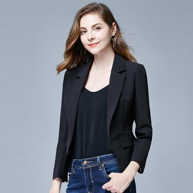 翻领长袖女式休闲外套显瘦西装3010286黑色(S)优惠券