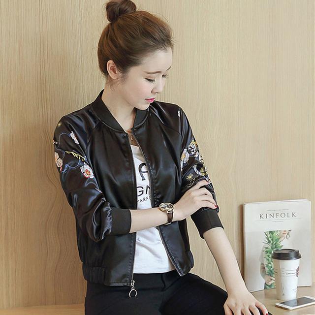 2016春秋新款韩版短款飞行员夹克棒球服女装印花黑色外套女开衫潮优惠券
