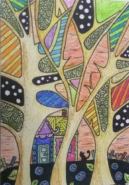 漂亮的创意大树主题线描画:炎热的夏天画一棵大树来乘凉,值收藏