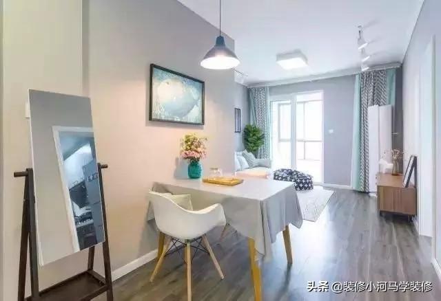 浅蓝色三居室装修,北欧风格清新自然,一家三口住着很满足